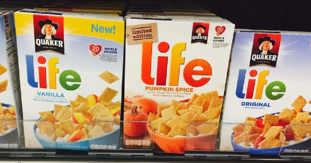 different flavored cereal boxes on store shelf