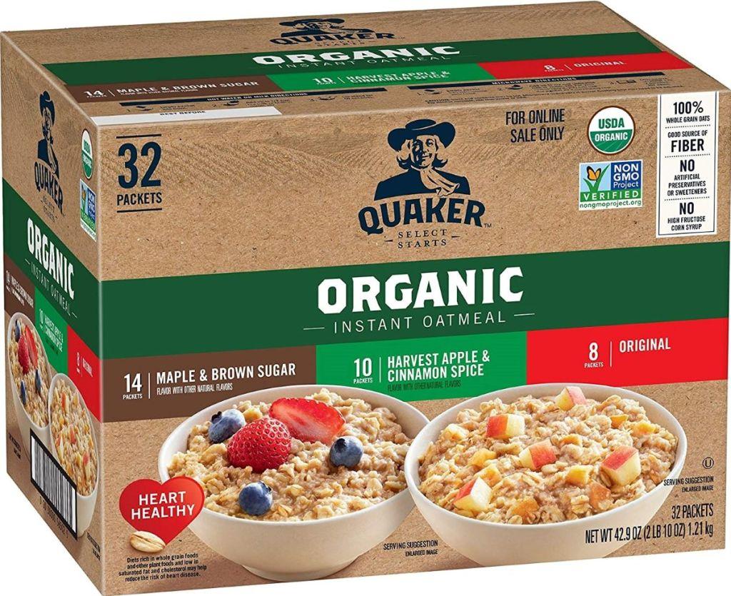 Quaker Organic Oatmeal box