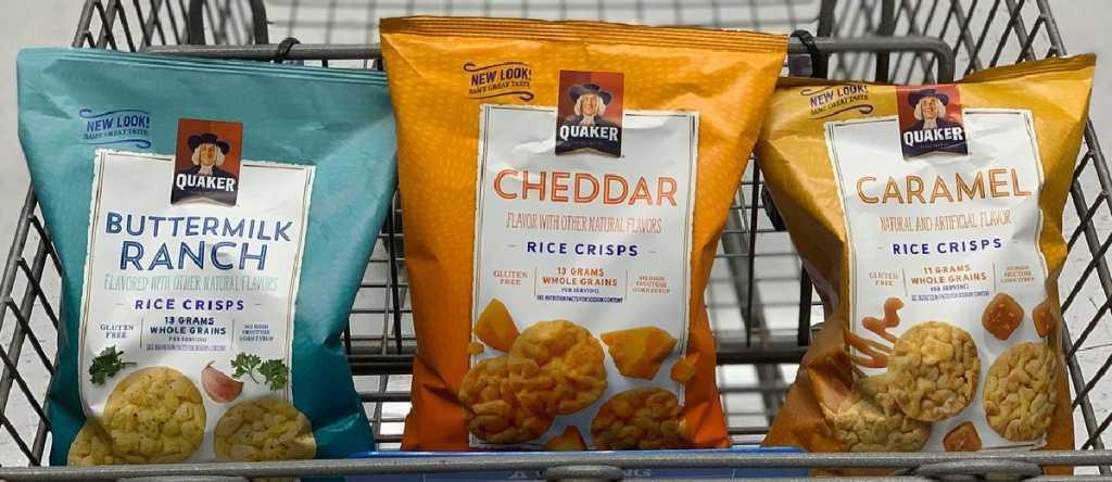 three bags of rice crisps in store cart