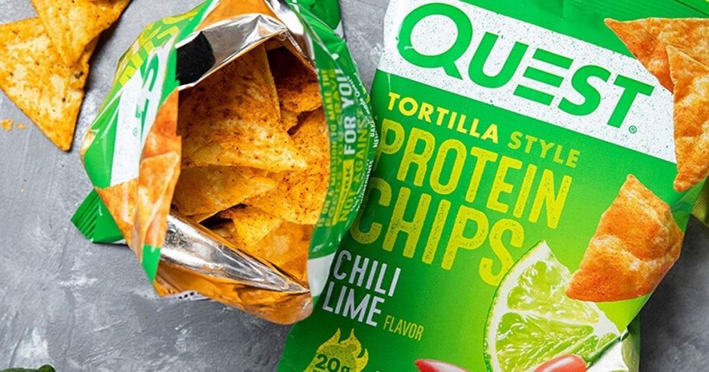 two bags of Quest Chili lime protein chips