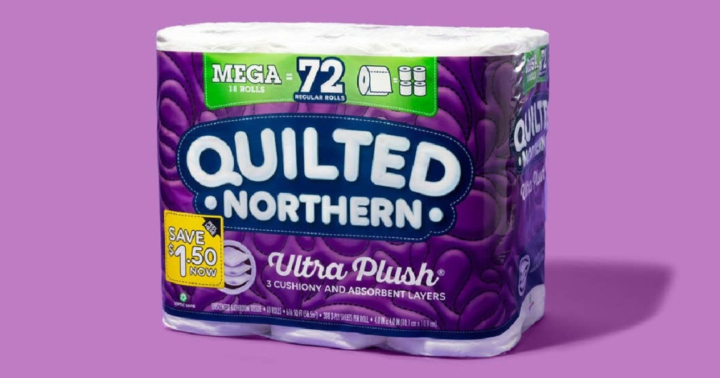 large pack of toilet paper and purple background