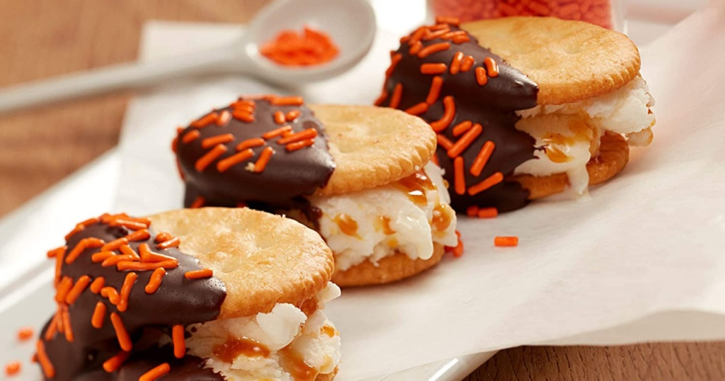 three desserts made with ritz crackers, chocolate, and orange sprinklee