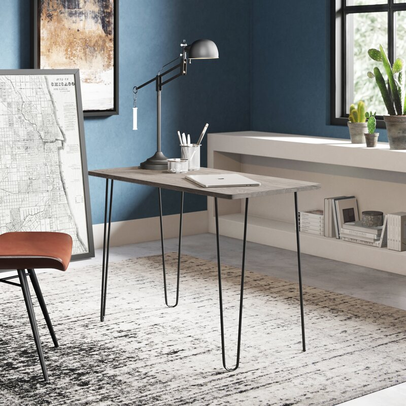 reversible desk in blue room