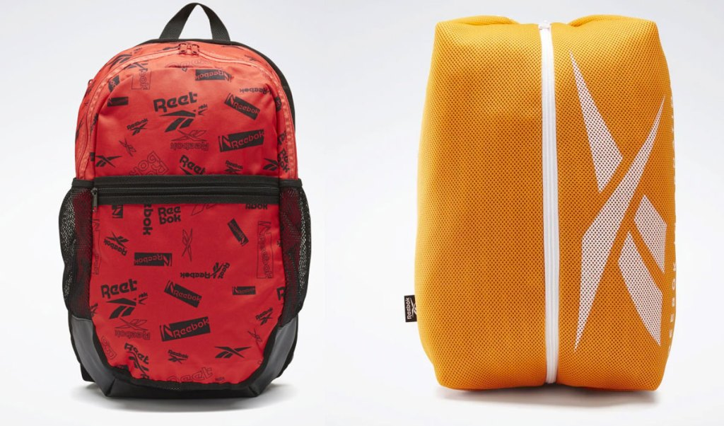 red and black reebok backpack and orange backpack with vertical zipper and reebok logo in white