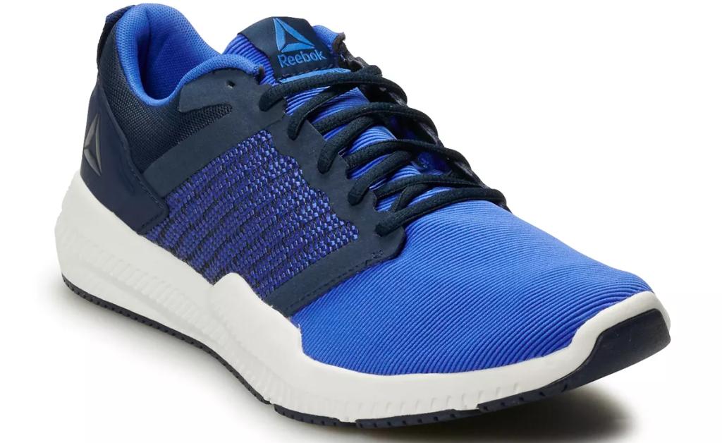 blue, black and white Reebok sneaker