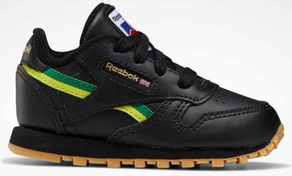 black with green and yellow stripe kids reebok shoes