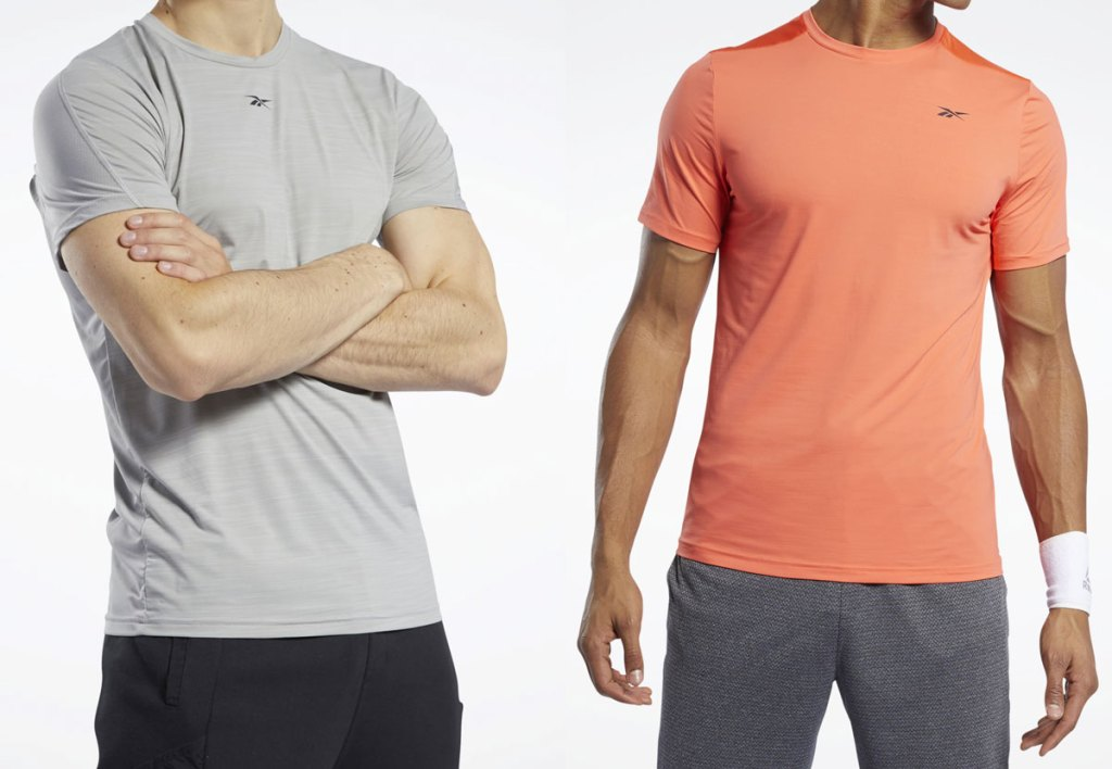 two men modeling reebok workout shirts in light grey and orange
