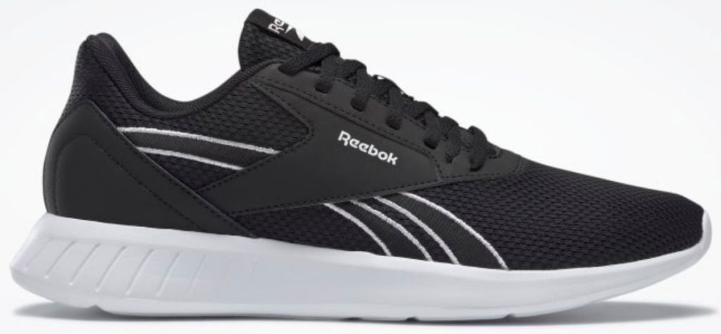 black and white pair of mens reebok shoes