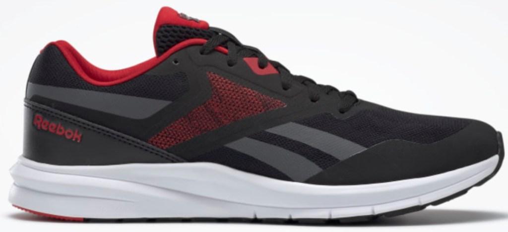 black/red/grey men's reebok energylux running shoes