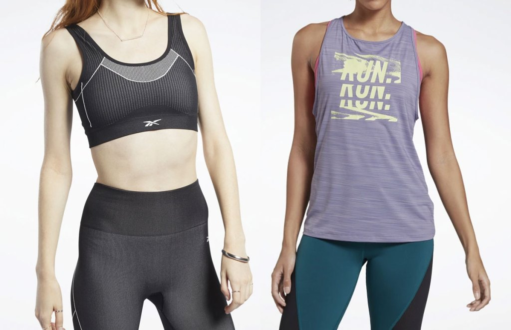 woman modeling black reebok sports bra and woman modeling purple graphic tank top