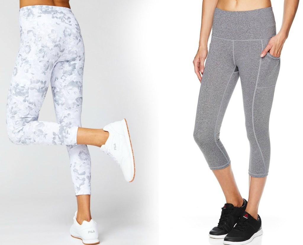 Women wearing athletic capri pants