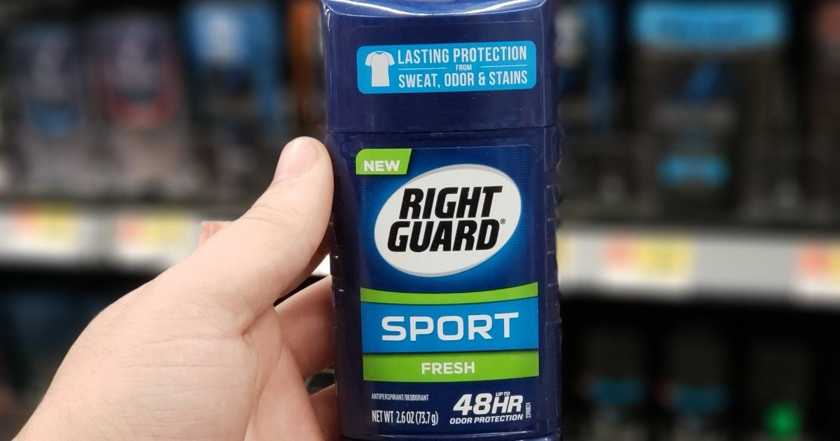 hand holding a Right Guard deodorant