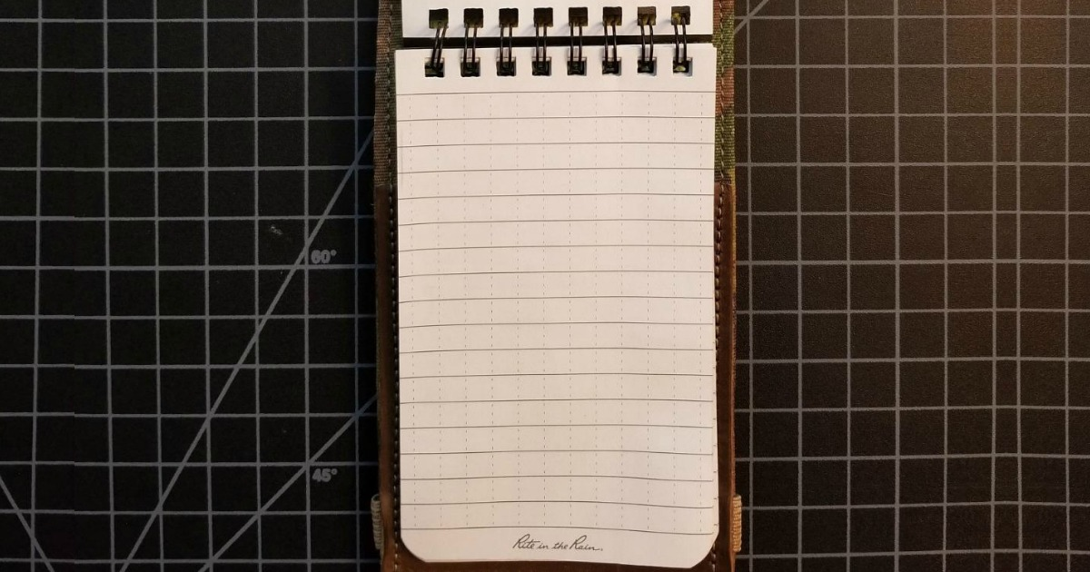 Waterproof small notebook on black graphed surface