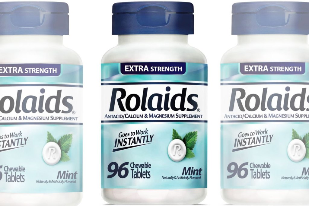 three bottles of Rolaids mint flavored antacid tablets
