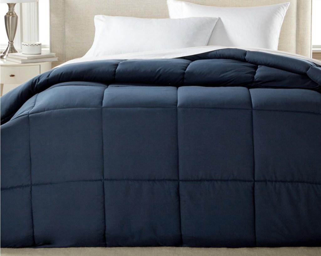 royal luxe down alternative comforter navy blue