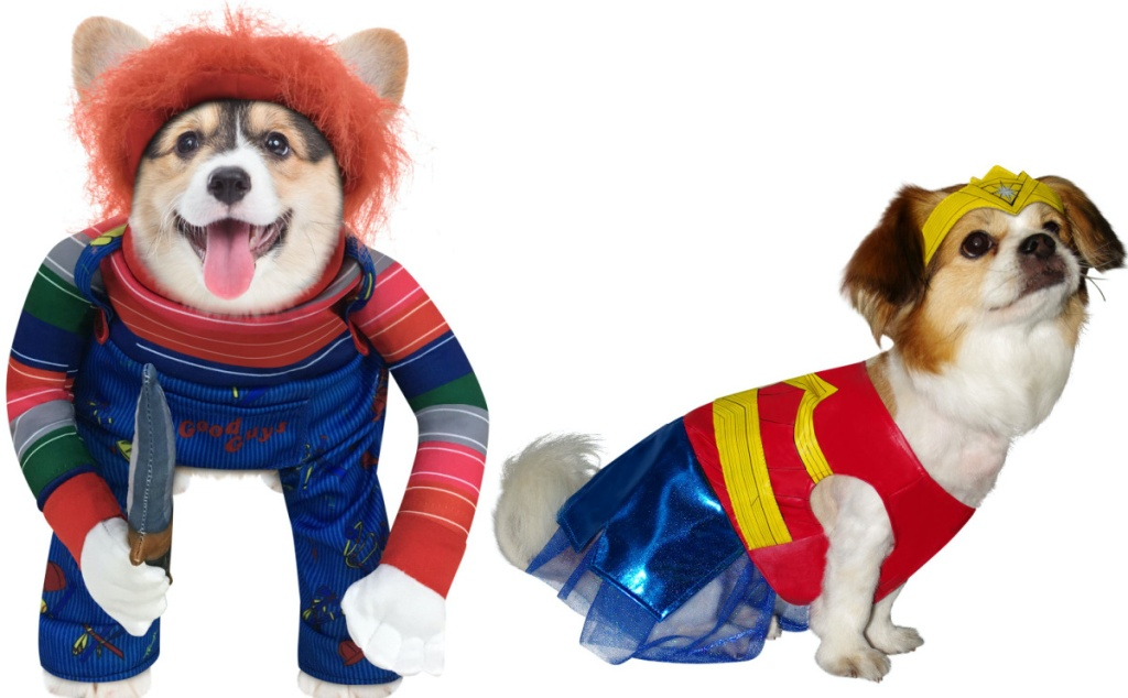 dog in Chucky costume and dog in Wonder Woman costume