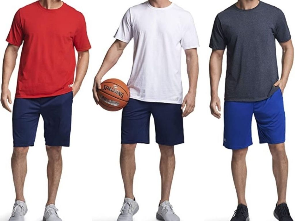 Three men wearing short sleeve t-shirts
