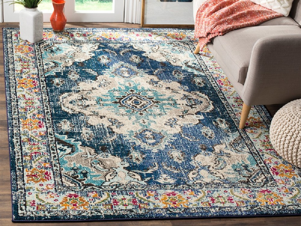 blue patterned rug in home