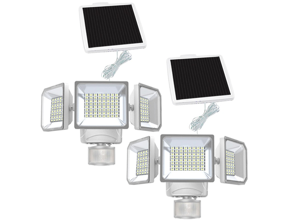 set of two motion sensor security lights with solar panels