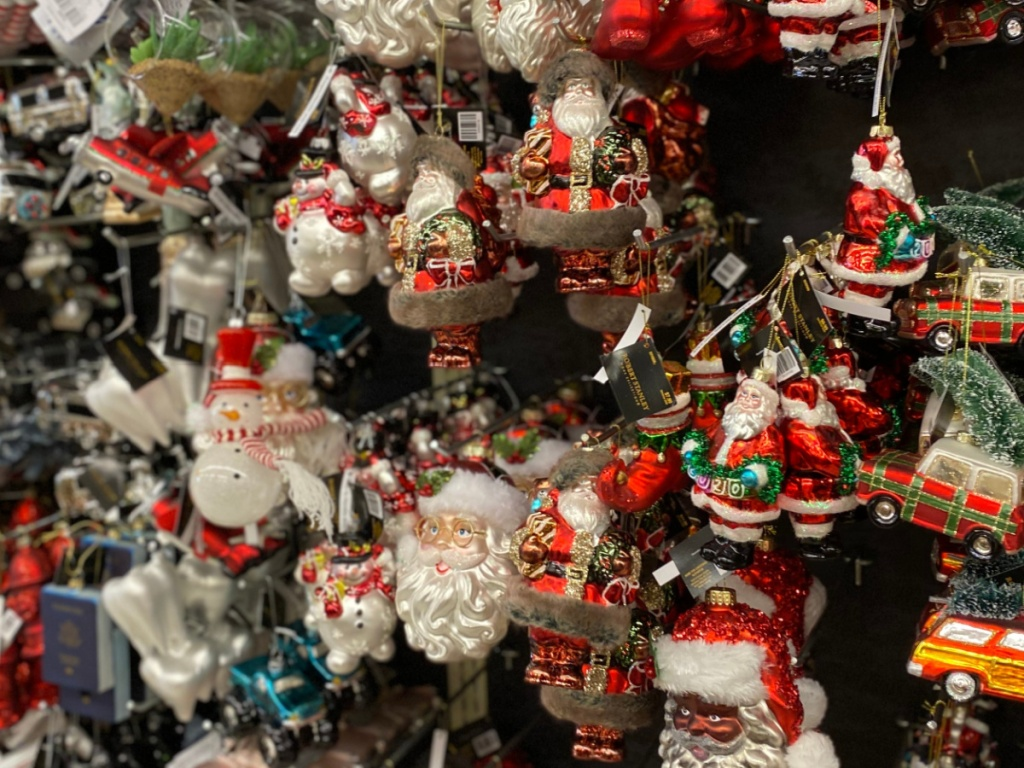 Santa ornaments hanging in store