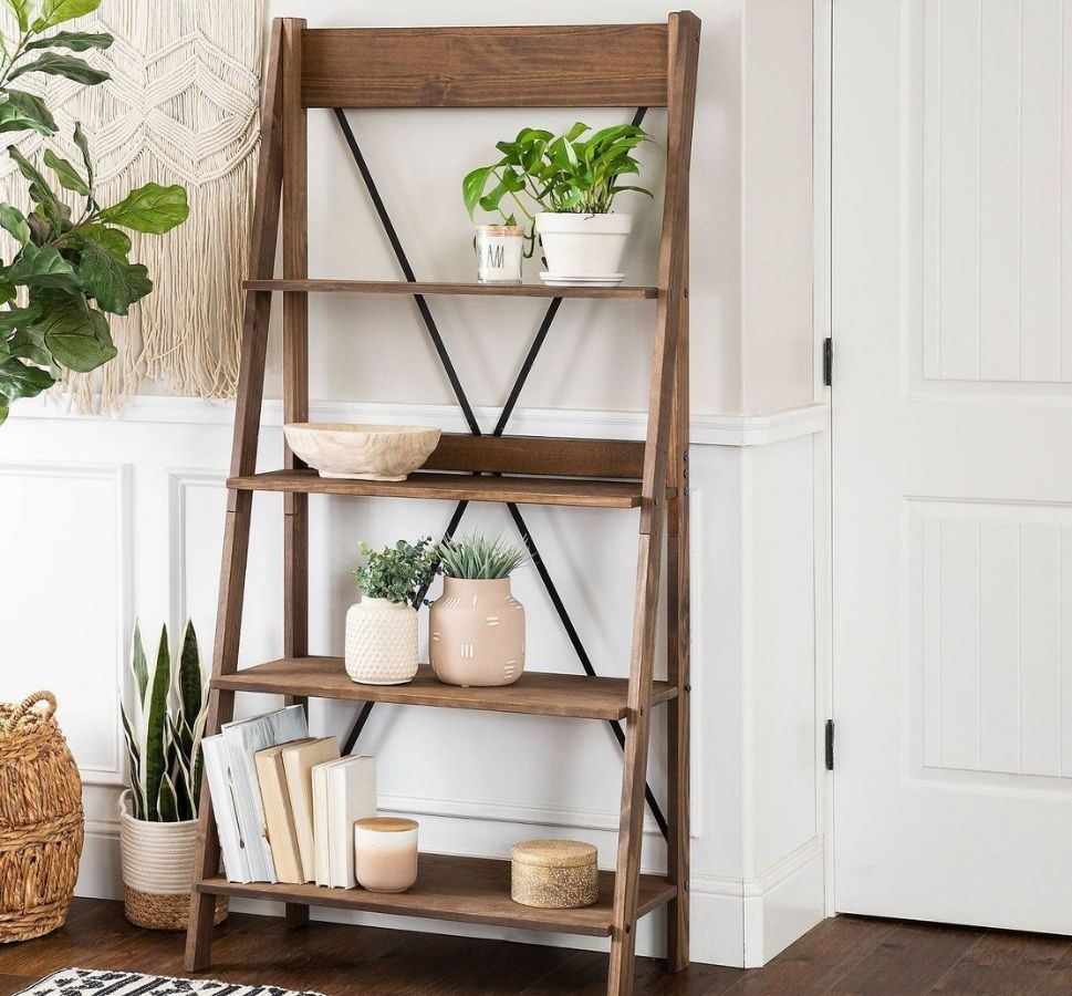 Saracina Home Ivy Boho 4 Tier Solid Wood Bookshelf
