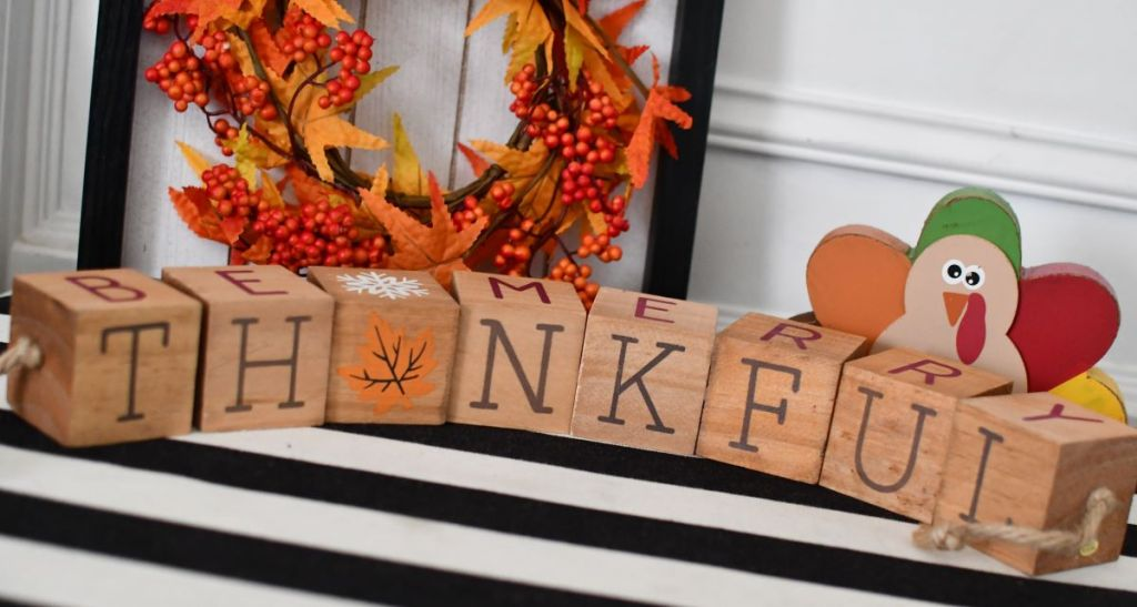 block letters that spell out thankful