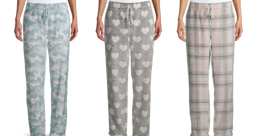 3 women standing next to each other wear fuzzy pajama bottoms