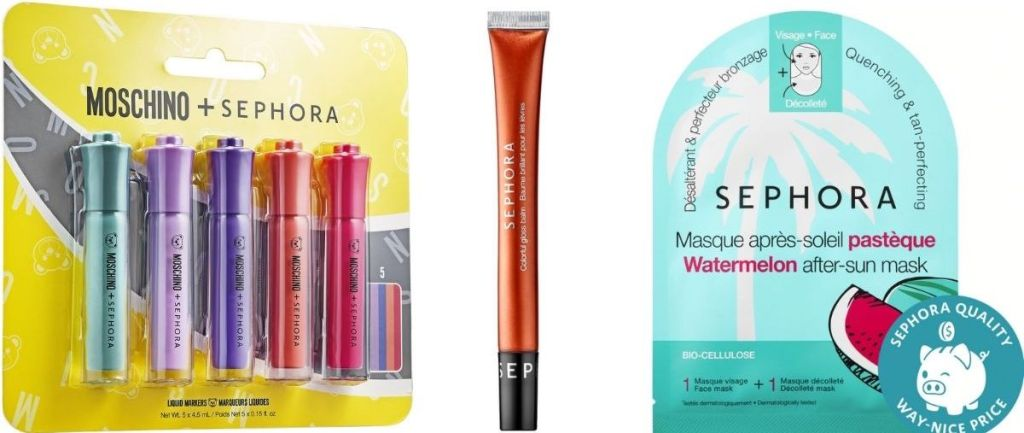 three Sephora beauty products, lipglosses and mask