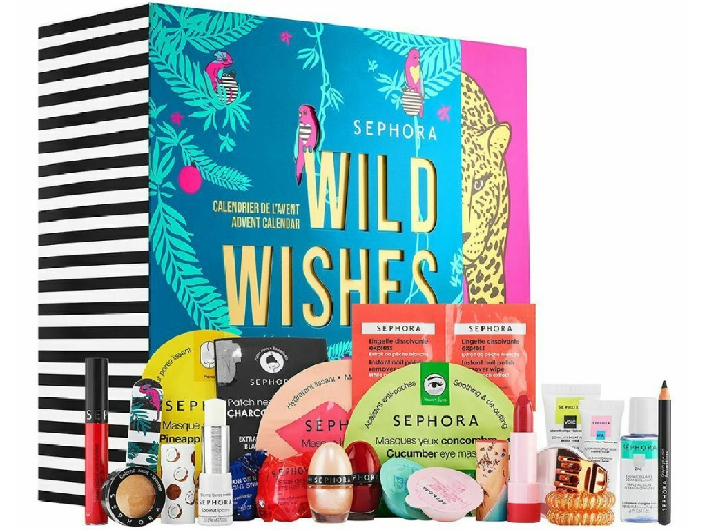 makeup products in front of Sephora Advent Calendar