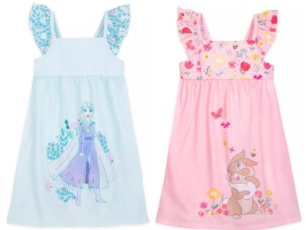 two disney girls nightgowns