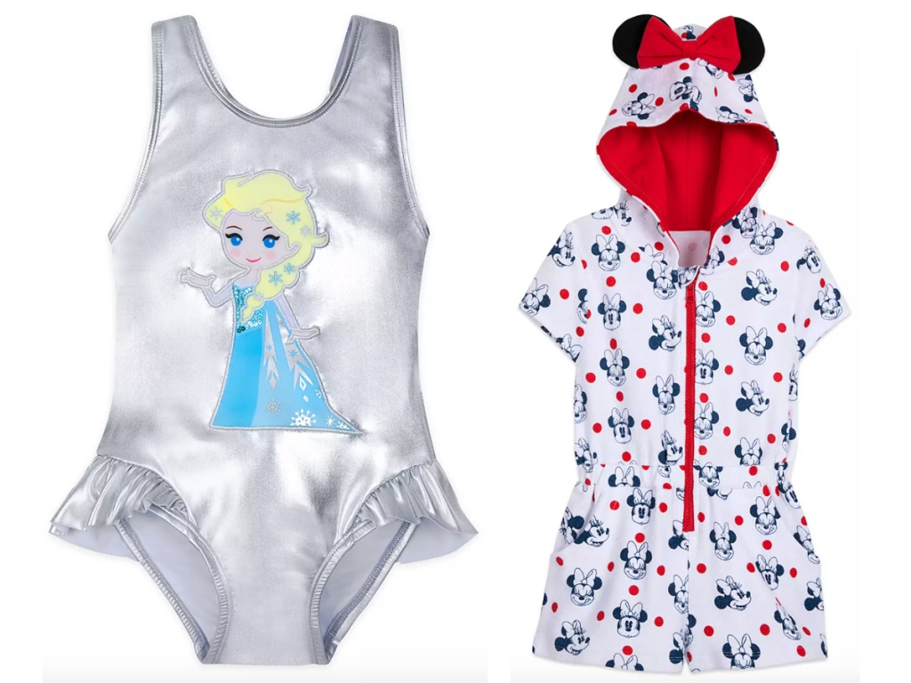 Silve Elsa Swimsuit next to a minnie mouse swim cover up