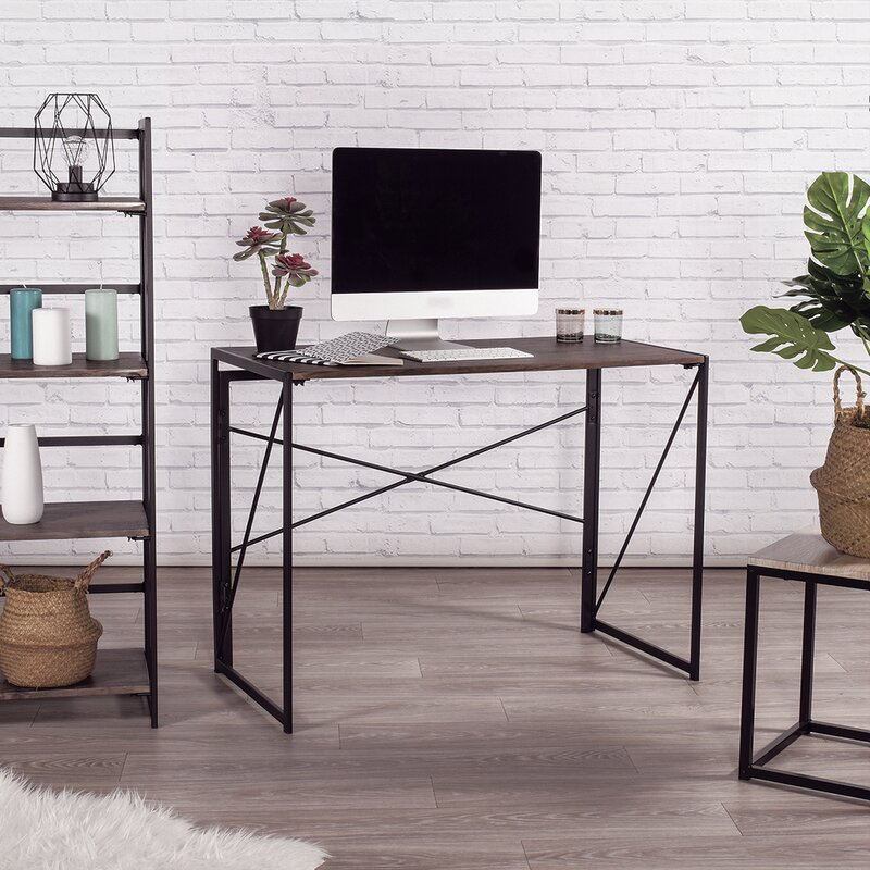 desk with computer on it