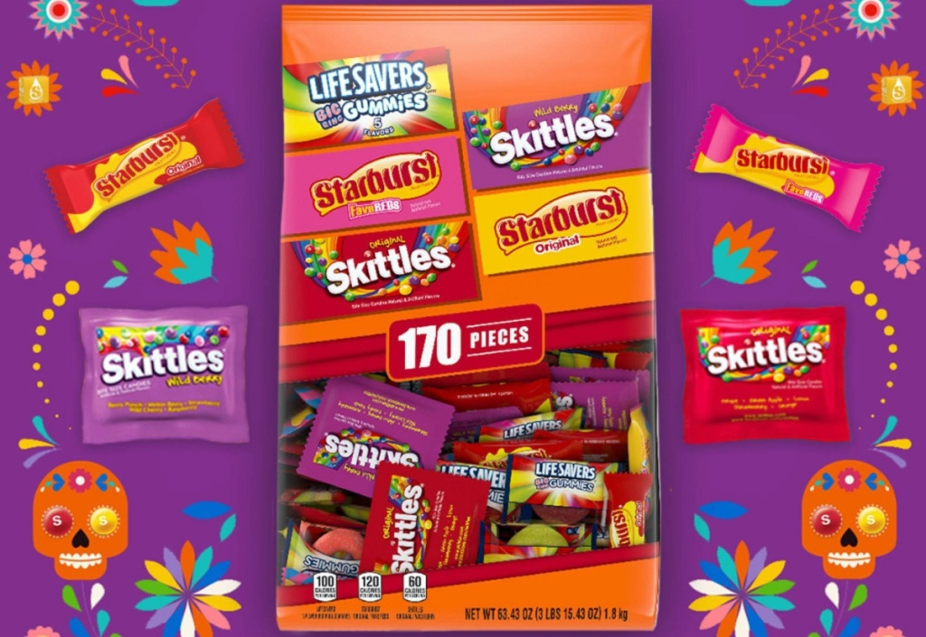 bag of fun size candy and candies with purple background