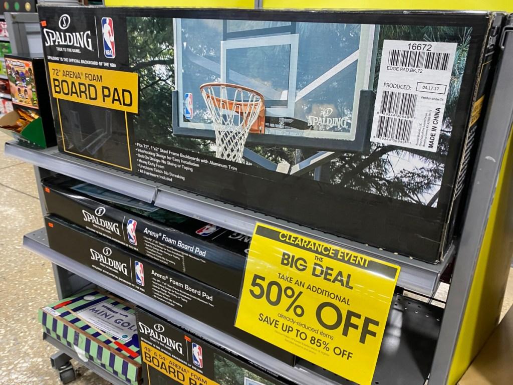 basketball foam board in box on store shelf