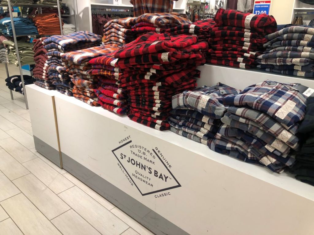 display of men's flannel shirts