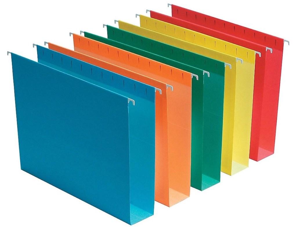 multi color staples hanging file folders