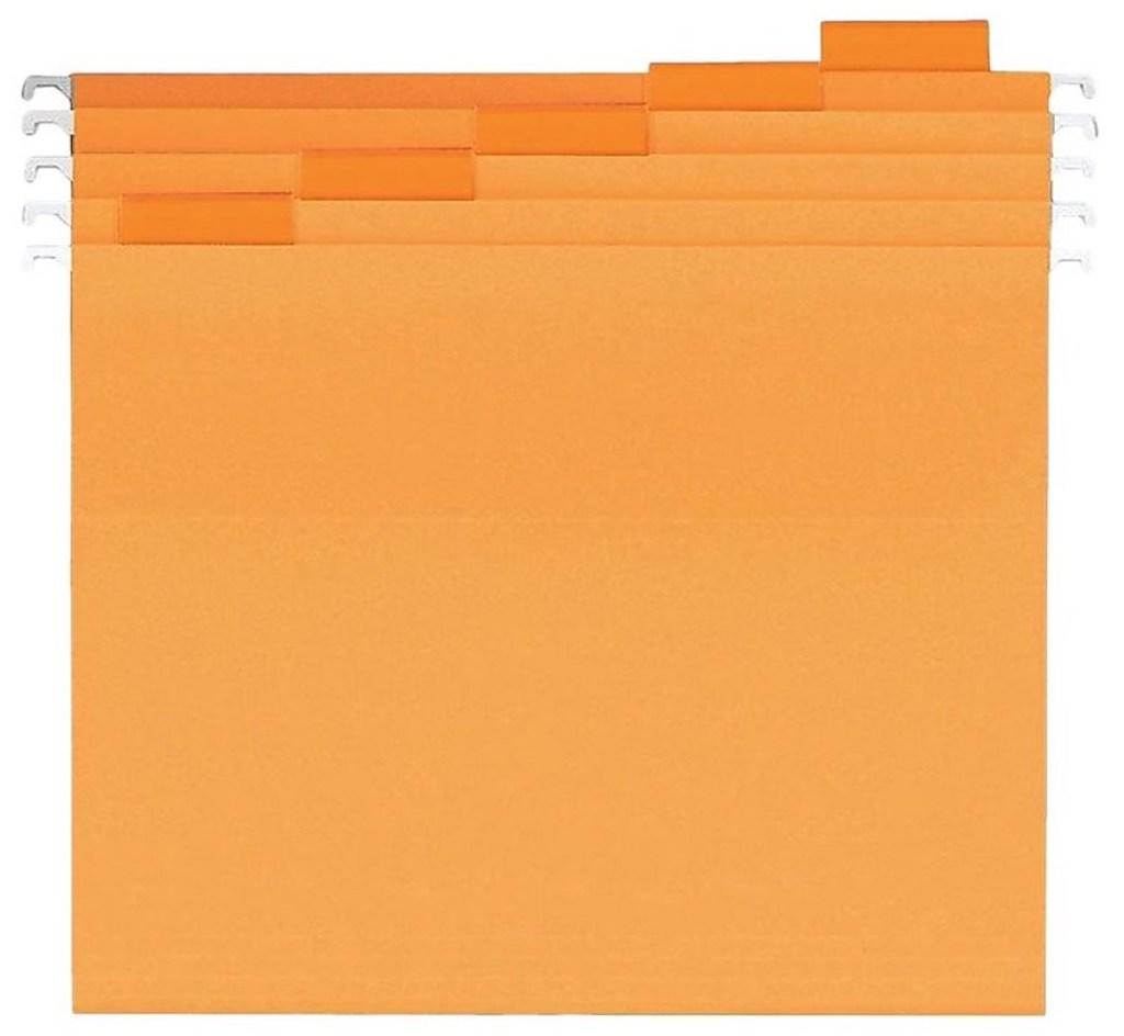stock image of orange file folders