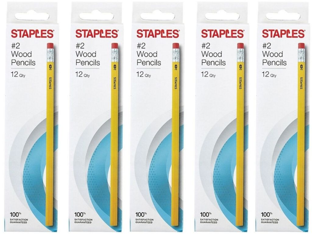 multiple packs of Staples #2 Pencils 12-Count