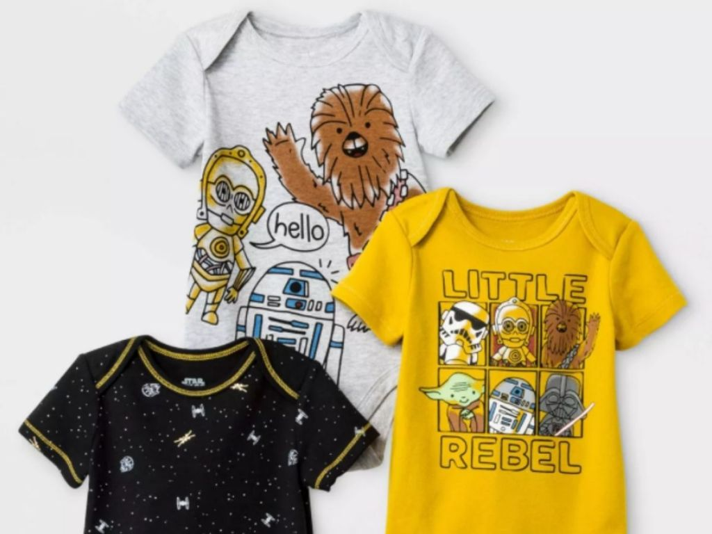 three star wars baby onesies