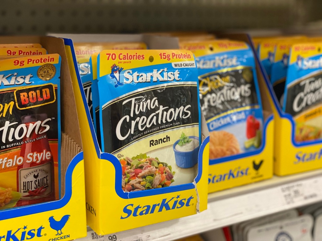 shelf with assorted starkist pouches including StarKist 2.6oz Tuna Creations Ranch