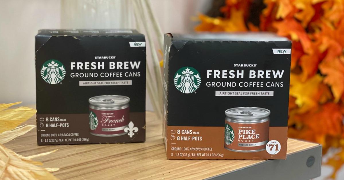 two boxes of Starbucks fresh brew