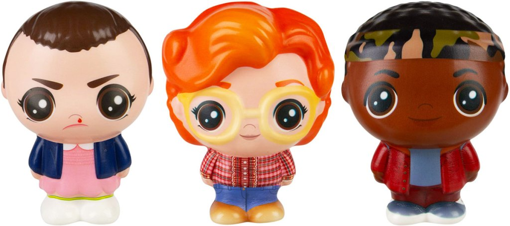 squishable toys of eleven, barb, and lucas from stranger things