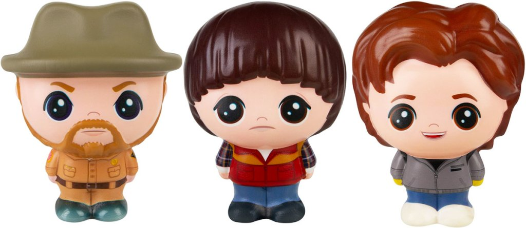 squishable toys of hopper, will, and steve from stranger things