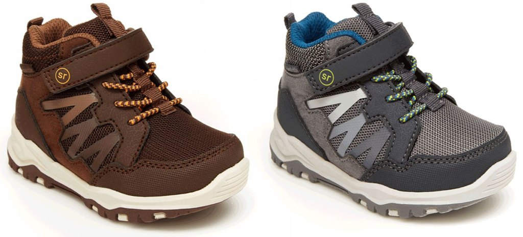 two pairs of little boys boot sneakers in brown and grey colors