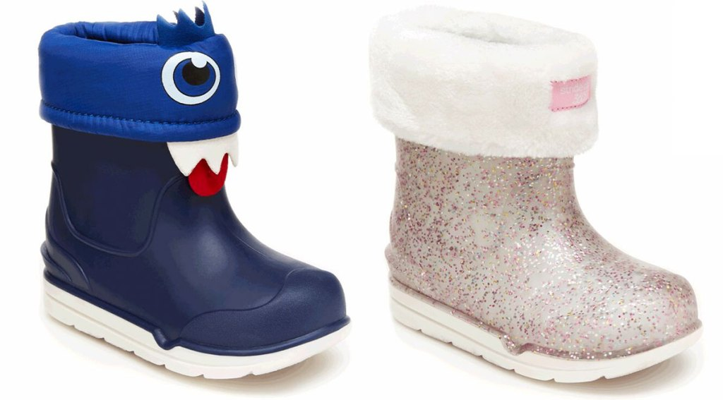 two kids rain boots in blue with monster face and pink with glitter