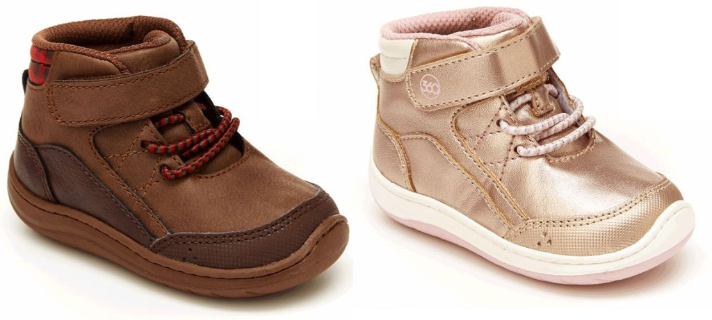 two pairs of kids ankle boots in brown and rose gold