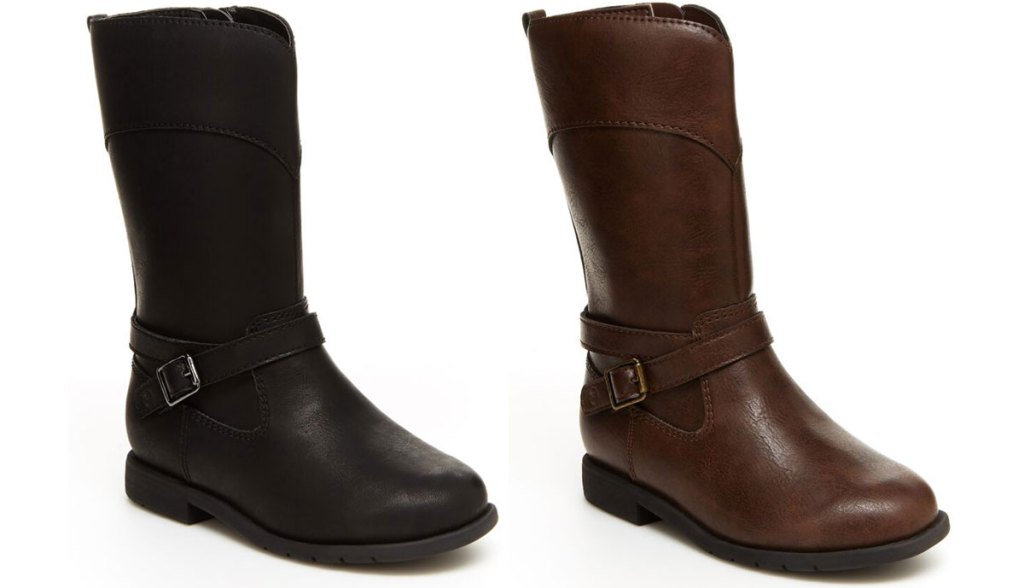 two girls riding boots in black and brown with side buckles