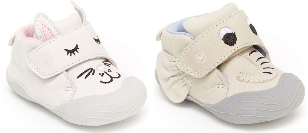 two little girls sneakers in bunny and elephant styles