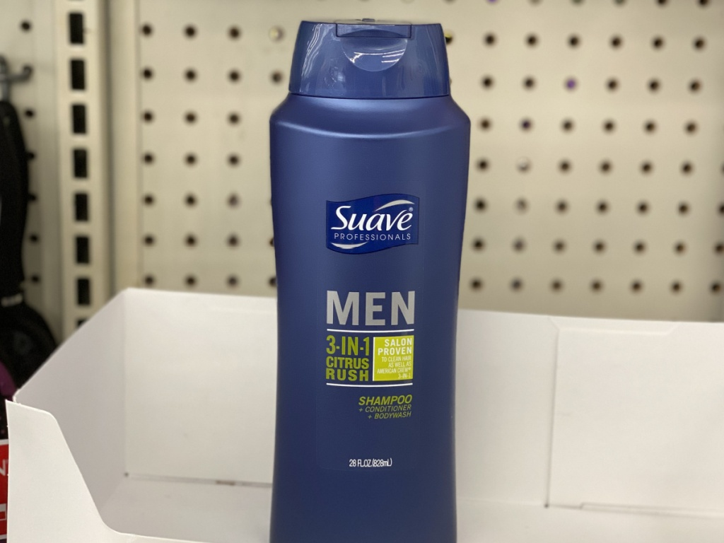 Suave Men's Body Wash sitting in an empty box in store