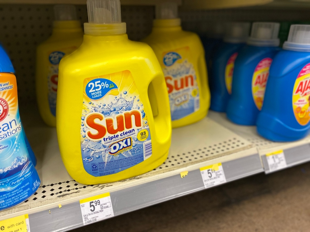sun laundry detergent on shelf at Walgreens